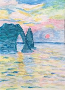 me monet etretat watercolor