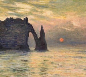 monet cliffs etretat sunset