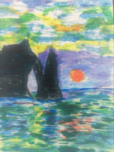my monet etretat sunset acrylic